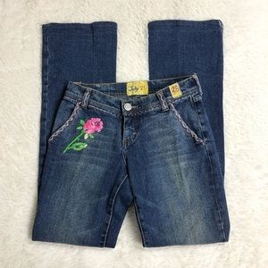 July 25 Hippie Embroidered Bootcut Jeans 26